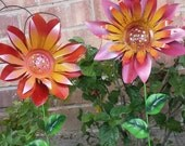 Dahlia flower garden stakes, Metal garden art, flower garden decoration, metal art