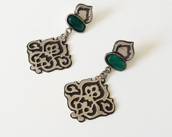 Silver Jade earrings