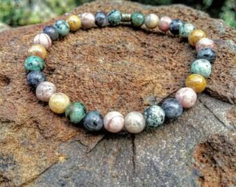 Mixed Gemstone Bracelet -African Turquoise Bracelet - Pink Zebra Jasper Bracelet - Crazy Lace Agate Bracelet - Beaded Bracelet -  Boho Jewel