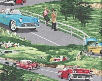 Vintage Cars, Planes, and Trains Fabric...Vintage Cars Scenic Quilt Fabric Planes Trains and Automobiles Wyndham 35352.