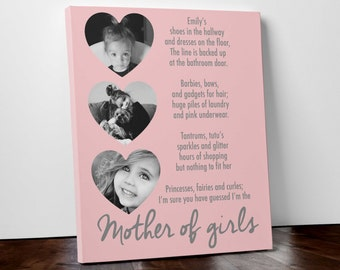 Mother of girls poem funny gift mothers day fathers day personalised print father of girls picture