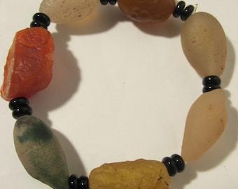 Rustic Colored  Agate Bracelet