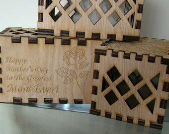 Custom Created Printed Personalized Engraved Wooden Puzzle Box