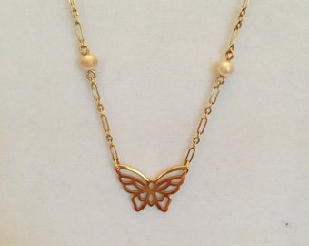 Gold Delicate Butterfly Necklace