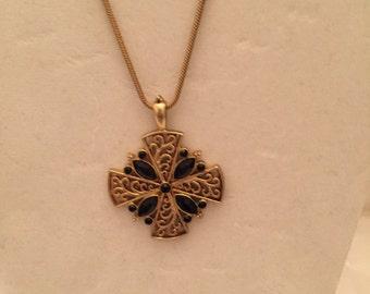 Gold Ornate Black Onyx Cross Pendant Necklace