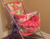 4 piece set, doll diaper bag, doll diapers, with matching stroller liner, READY TO SHIP!!