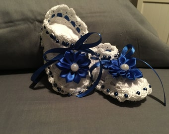 Baby Booties with Flower and Beads