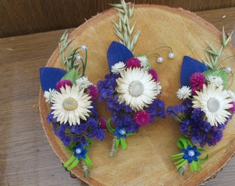 Groomsmen boutonnieres, buttonholes, rustic wedding accessories, rustic buttonhole, dry flowers buttonhole, wild flowers boutonnieres