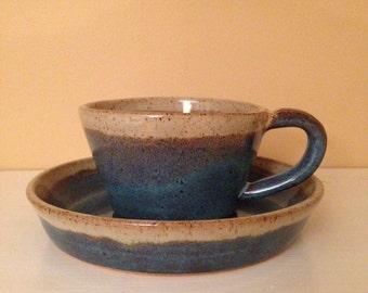 Light Blue/Cream Soup Mug & Sandwich Plate