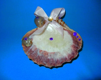 Purple shell ring/jewelry tray
