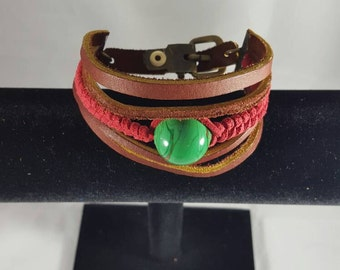 Flame worked Bead and Leather Bracelet