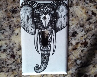 Tribal elephant light switch cover