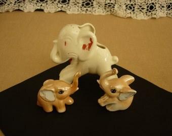 Three Happy Elephants Ceramic