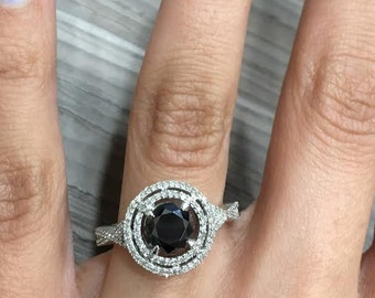 Certified Black Diamond Engagement Ring Pave Halo 14k White Gold