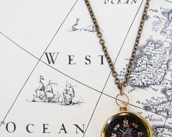 Vintage Brass Compass Pendant Necklace