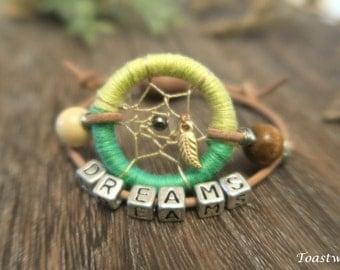Adjustable Dreamcatcher bracelet,green,beads,dream catcher, friendship bracelet, accessories,dreams,hippie,boho,native american