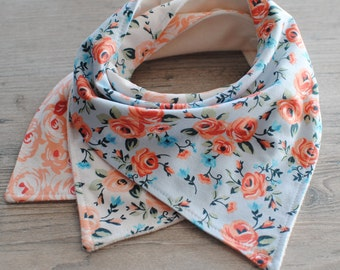 Bandana Bib Girl-Baby Bib-Baby Girl Bibs Set-Terry Cloth Bib-Drool Bib-Organic Bandana Bib-Peach and Blue Bandana Bibs-Set of 3 Girl Bibs