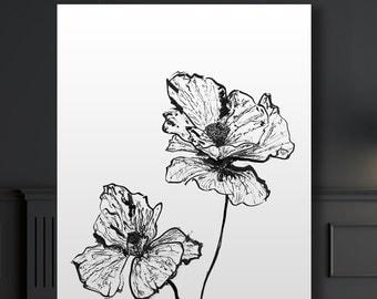 Botanical Giclee Art Print of ink illustration, Poppy