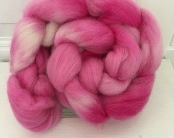 Hand dyed 100% Corriedale fibre, 100g, for Spinning and Felting, in colourway 'Pink 100s and 1000s'