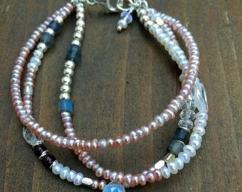 Pearl ,moonstone, silver beads, bracelet