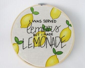 """Beyonce Lemonade 8"""" embroidery and watercolor hoop art"""