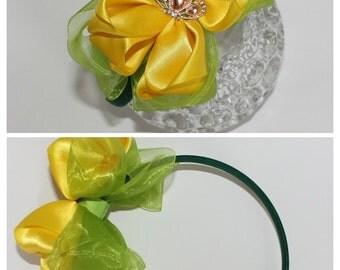 Girl headband, Bow headband, Yellow, lime green, dark green
