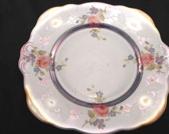 Vintage Floral Decaled Glazed Sandwich Plate