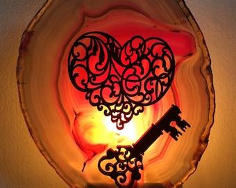 Heart and Key Agate Slice Night Light - Geode Night Light - Unlock My Heart