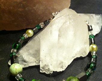Green fancy beads hematite bracelet