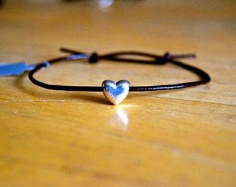 Heart Charm Bracelet, Leather, Charm Bracelet, Silver Plated Charm, Adjustable, Heart Charm, Friendship Bracelet