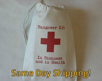 10 Red Cross Hangover Kit In Sickness and in Health cotton party favor bags 4x6 weddings, bachelorette, bachelor parties Same Day Shipping