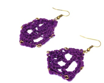 Hexagon earrings filigree fashioned gold purple