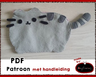 Sewing pattern (PDF pattern) bag of grey cat with stripes, (ENG), manual included