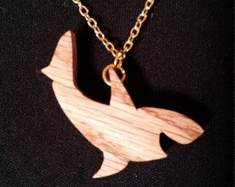 Handcrafted wood smiling shark