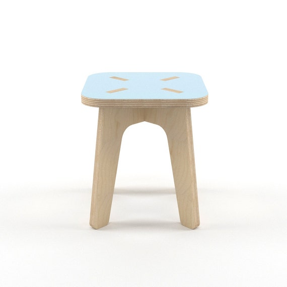 Blue Wood Stool Wooden Step Stool Kids Furniture Kids