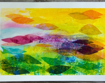 """Sunburst - Original Mixed Media Collage made with handmade papers.  16"""" x 10"""""""