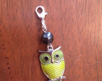 Yellow Owl zipper charm