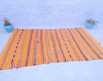 FREE SHIPPING: VINTAGE Moroccan Kilim Rug – Pure Wool – naturally dyed with saffron – 1990's –240cm x 163cm