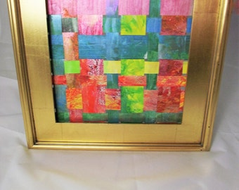 Art Upcycled Billboard Vinyl weaving orange yellow green lime woven iridescent office decor wall hanging 18 x 18 wood frame wedding gift