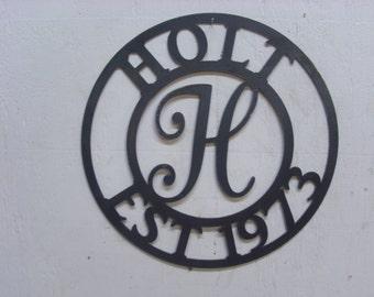 Monogrammed Established (EST) Metal Sign