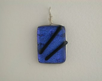 Blue Dichroic Glass Pendant