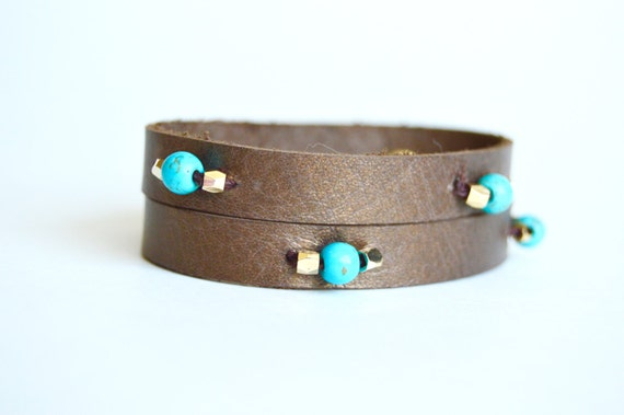Beaded  Bronze Brown Leather Cuff:  Turquoise and Gold Beaded Bronze Leather Bracelet