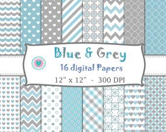 16 DIGITAL PAPERS  blue and grey, for decorating birthdays, babyshower, candy bar, scrapbook -Jpg 300 DPI