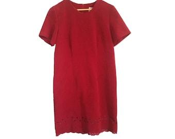 Vintage Red Shift Dress Size 10