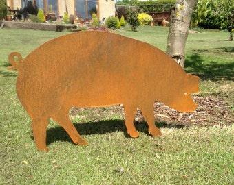 rusty piglet little piggy garden decor pig gift garden pig decor metal - Orange Garden Decor