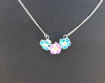 Blue and Pink Flower Necklace