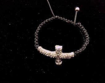 Black Woven Cross Bracelet