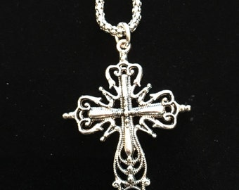Silver Cross Necklace C2
