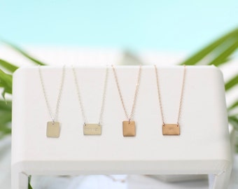 Square Plate Necklace • Personalized Necklace • Layering Necklace • Initial Necklace • Delicate Necklace • Gold Necklace • Name Necklace •