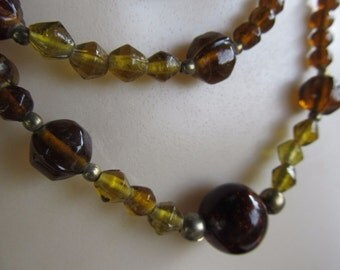 Vintage Multi Strand Amber Colored Heavy Beaded Statement Necklace